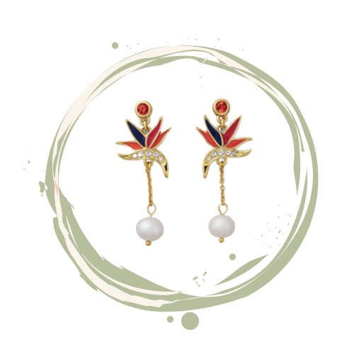 Birds of Paradise inspired Tommy  Bahama Drop earrings with freshwater pearls.