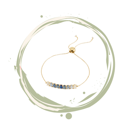 Blue ombree Tai crystal bracelet on delicate gold chain.